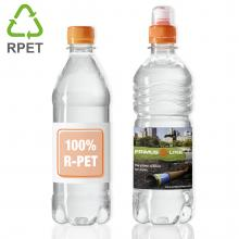 Impresión de botellas de agua | 500 ml | Tapa plano de color | 100% R-PET