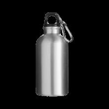 Botella de aluminio | 400 ml | Mosquetón | max141 Plateado