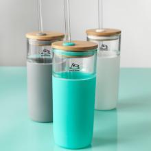 Botella de vidrio | 600ml | Tritan / Bamboo | Con pajita | Personalizable