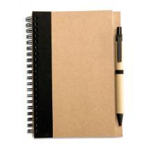 Cuadernos de materiales reciclados de formato A6 + bolígrafo | 8763775 Negro